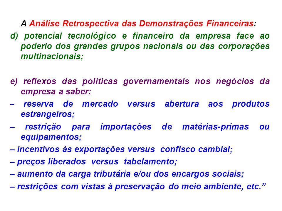 A Análise Retrospectiva das Demonstrações Financeiras: d) potencial tecnológico e financeiro da empresa face ao poderio dos grandes grupos nacionais o