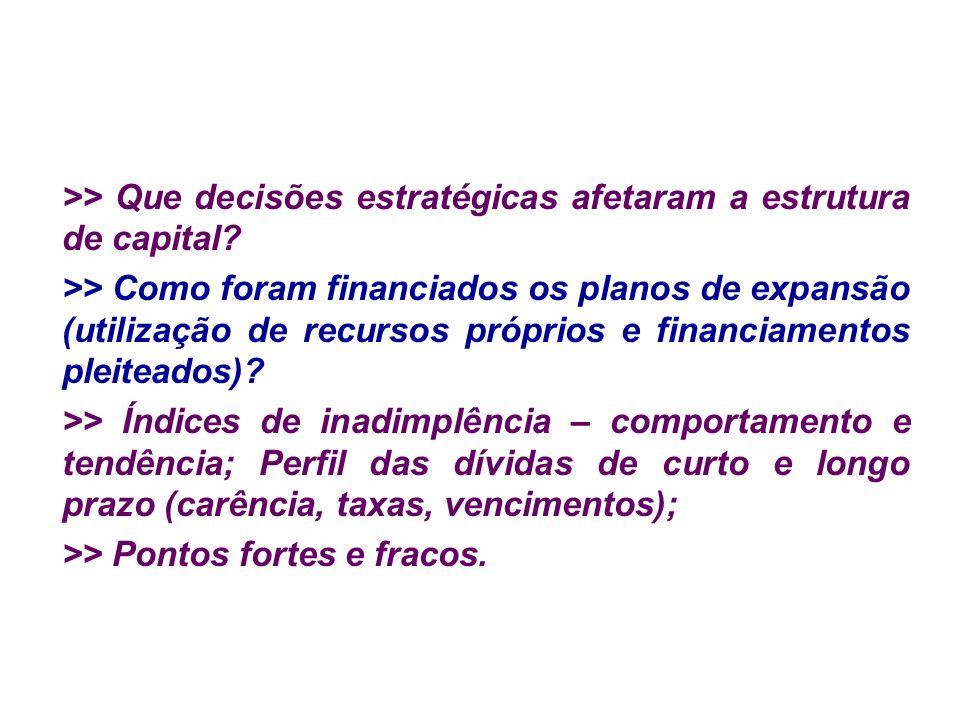 >> Que decisões estratégicas afetaram a estrutura de capital? >> Como foram financiados os planos de expansão (utilização de recursos próprios e finan