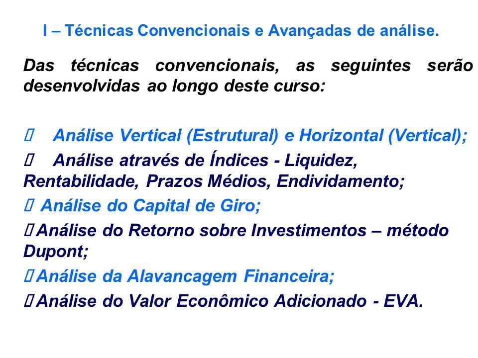 I – Técnicas Convencionais e Avançadas de análise. Das técnicas convencionais, as seguintes serão desenvolvidas ao longo deste curso: Análise Vertical
