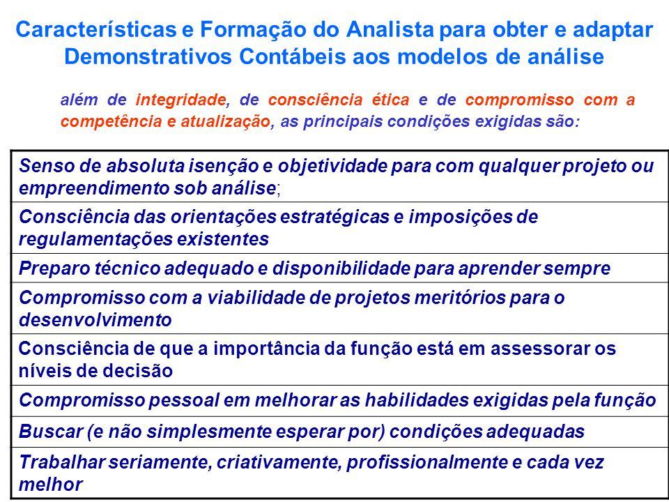 Características e Formação do Analista para obter e adaptar Demonstrativos Contábeis aos modelos de análise além de integridade, de consciência ética