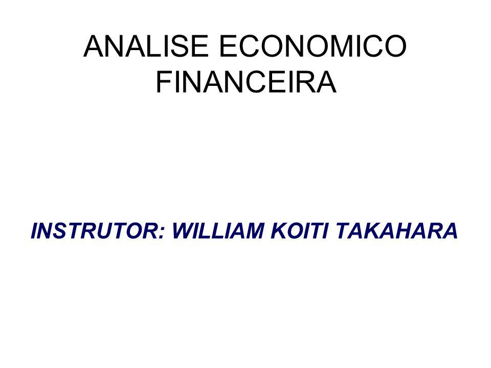 ANALISE ECONOMICO FINANCEIRA INSTRUTOR: WILLIAM KOITI TAKAHARA