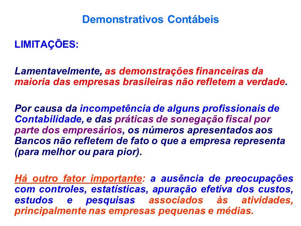 Demonstrativos Contábeis LIMITAÇÕES: Lamentavelmente, as demonstrações financeiras da maioria das empresas brasileiras não refletem a verdade. Por cau