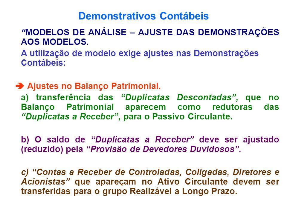 Demonstrativos Contábeis MODELOS DE ANÁLISE – AJUSTE DAS DEMONSTRAÇÕES AOS MODELOS. A utilização de modelo exige ajustes nas Demonstrações Contábeis:
