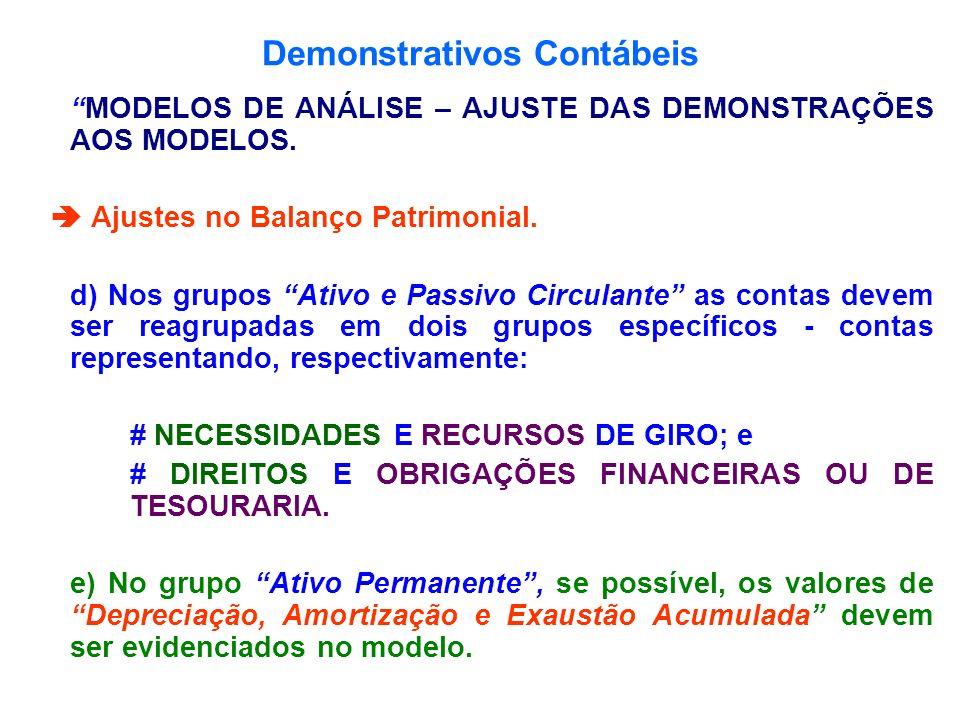 Demonstrativos Contábeis MODELOS DE ANÁLISE – AJUSTE DAS DEMONSTRAÇÕES AOS MODELOS. Ajustes no Balanço Patrimonial. d) Nos grupos Ativo e Passivo Circ