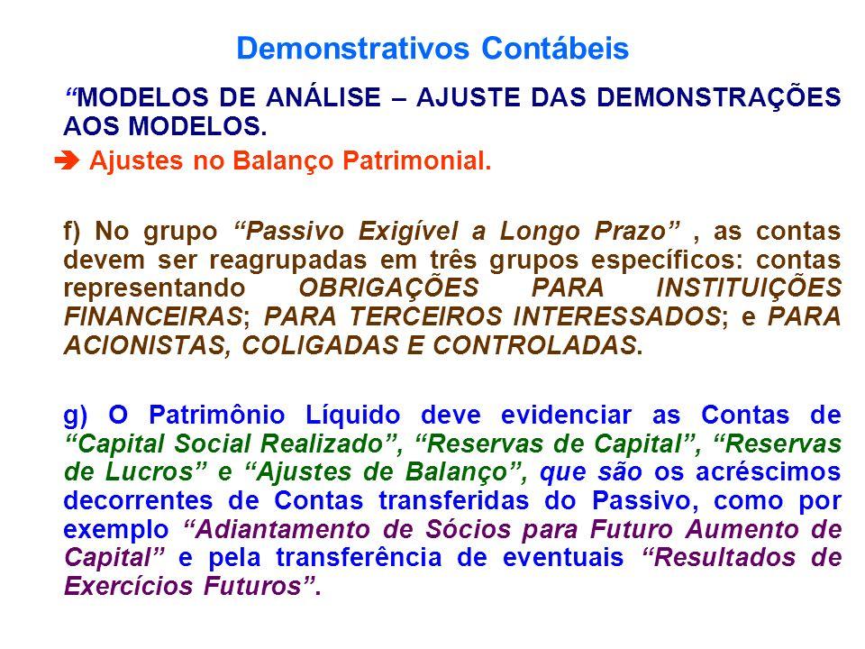 Demonstrativos Contábeis MODELOS DE ANÁLISE – AJUSTE DAS DEMONSTRAÇÕES AOS MODELOS. Ajustes no Balanço Patrimonial. f) No grupo Passivo Exigível a Lon