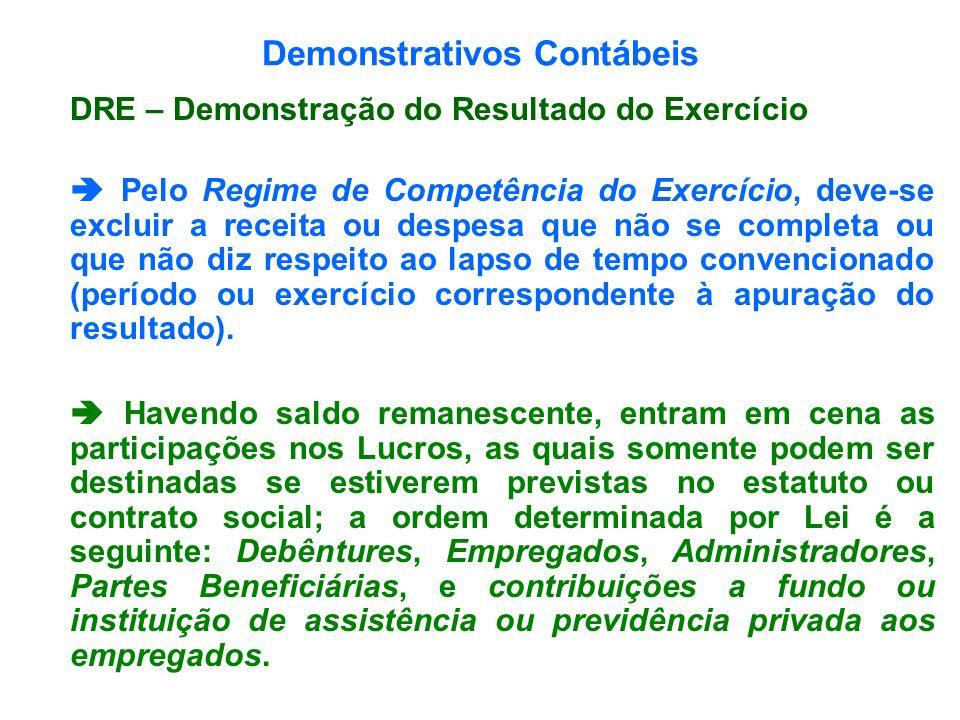 Demonstrativos Contábeis DRE – Demonstração do Resultado do Exercício Pelo Regime de Competência do Exercício, deve-se excluir a receita ou despesa qu