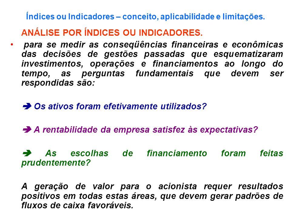 Índices ou Indicadores – conceito, aplicabilidade e limitações. ANÁLISE POR ÍNDICES OU INDICADORES. para se medir as conseqüências financeiras e econô