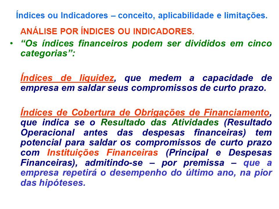 Índices ou Indicadores – conceito, aplicabilidade e limitações. ANÁLISE POR ÍNDICES OU INDICADORES. Os índices financeiros podem ser divididos em cinc
