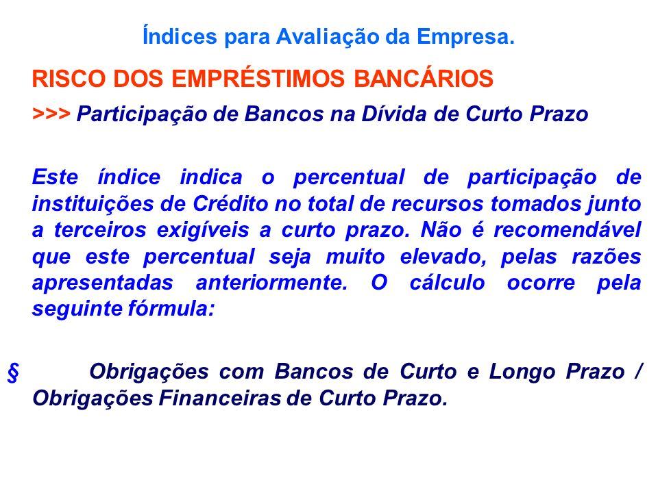 Índices para Avaliação da Empresa. RISCO DOS EMPRÉSTIMOS BANCÁRIOS >>> Participação de Bancos na Dívida de Curto Prazo Este índice indica o percentual