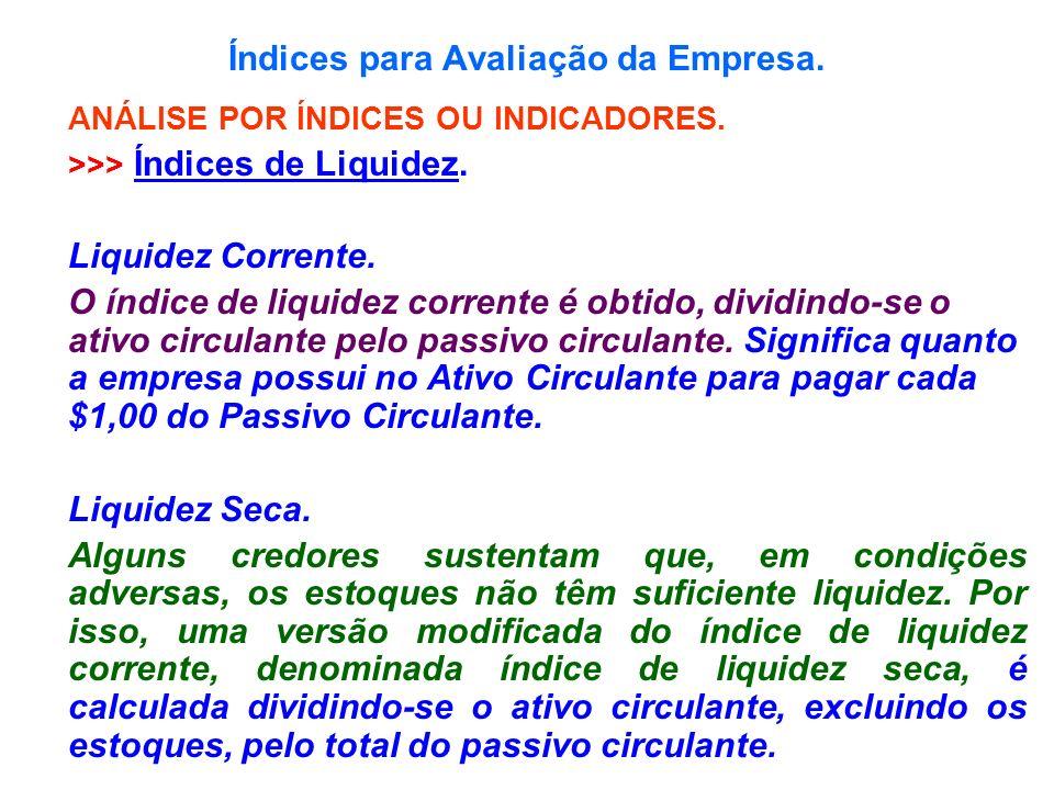 Índices para Avaliação da Empresa. ANÁLISE POR ÍNDICES OU INDICADORES. >>> Índices de Liquidez. Liquidez Corrente. O índice de liquidez corrente é obt