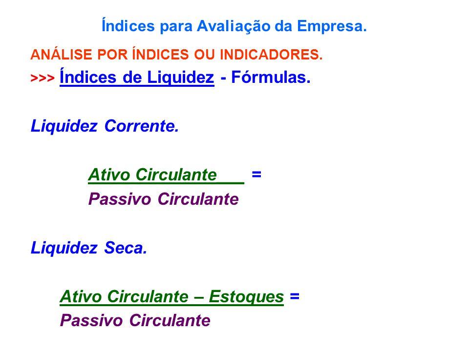 Índices para Avaliação da Empresa. ANÁLISE POR ÍNDICES OU INDICADORES. >>> Índices de Liquidez - Fórmulas. Liquidez Corrente. Ativo Circulante___ = Pa