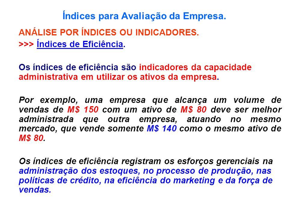 Índices para Avaliação da Empresa. ANÁLISE POR ÍNDICES OU INDICADORES. >>> Índices de Eficiência. Os índices de eficiência são indicadores da capacida