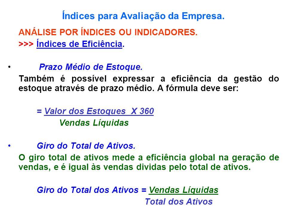 Índices para Avaliação da Empresa. ANÁLISE POR ÍNDICES OU INDICADORES. >>> Índices de Eficiência. Prazo Médio de Estoque. Também é possível expressar