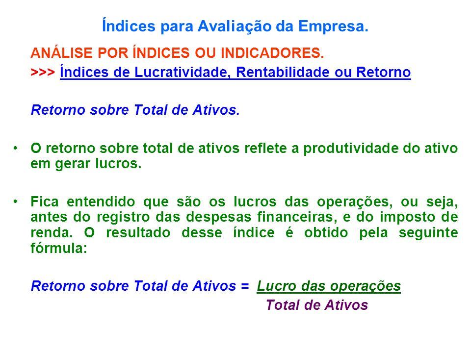 Índices para Avaliação da Empresa. ANÁLISE POR ÍNDICES OU INDICADORES. >>> Índices de Lucratividade, Rentabilidade ou Retorno Retorno sobre Total de A