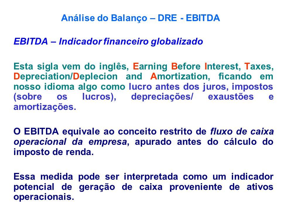 Análise do Balanço – DRE - EBITDA EBITDA – Indicador financeiro globalizado Esta sigla vem do inglês, Earning Before Interest, Taxes, Depreciation/Dep