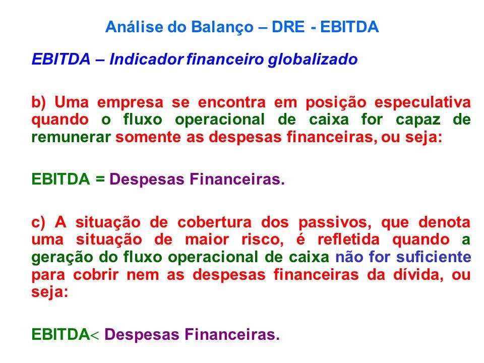 Análise do Balanço – DRE - EBITDA EBITDA – Indicador financeiro globalizado b) Uma empresa se encontra em posição especulativa quando o fluxo operacio
