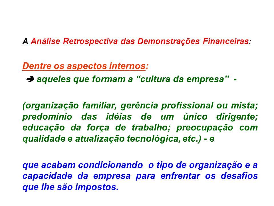 A Análise Retrospectiva das Demonstrações Financeiras: Dentre os aspectos internos: aqueles que formam a cultura da empresa - (organização familiar, g