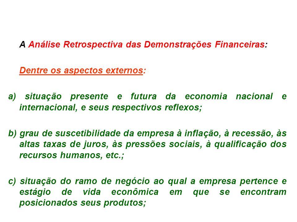 A Análise Retrospectiva das Demonstrações Financeiras: Dentre os aspectos externos: a) situação presente e futura da economia nacional e internacional