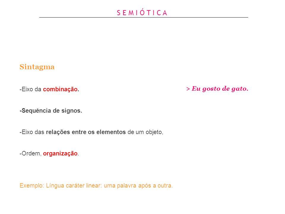 Sintagma & Paradigma Eixos necessários na configuração de uma língua, de um produto, de um edifício, de um cartaz e etc. S E M I Ó T I C A