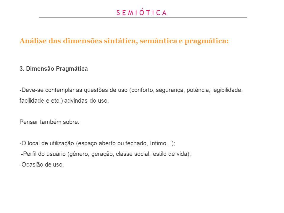 Análise das dimensões sintática, semântica e pragmática: 1. Dimensão Sintática -Descrever as partes que compõem o produto e seus respectivos elementos