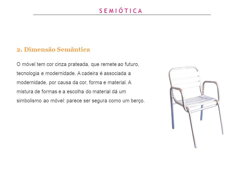 Exemplo de Análise: Móvel de assento 1.Dimensão Sintática O material utilizado na cadeira é alumínio, metal leve, de aparência lisa e brilhante e de c