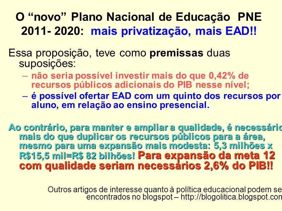 O novo Plano Nacional de Educação PNE 2011- 2020: mais privatização, mais EAD!.