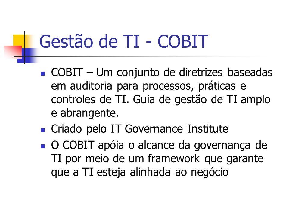 Gestão de TI - COBITIL ITILCOBIT Garantia de níveis de serviço Garantia de auditoria e conformidade Foco nos serviços prestados pela TI Foco em processos, controle e redução de riscos Gestão de TIGovernança de TI Se complementam muito bem