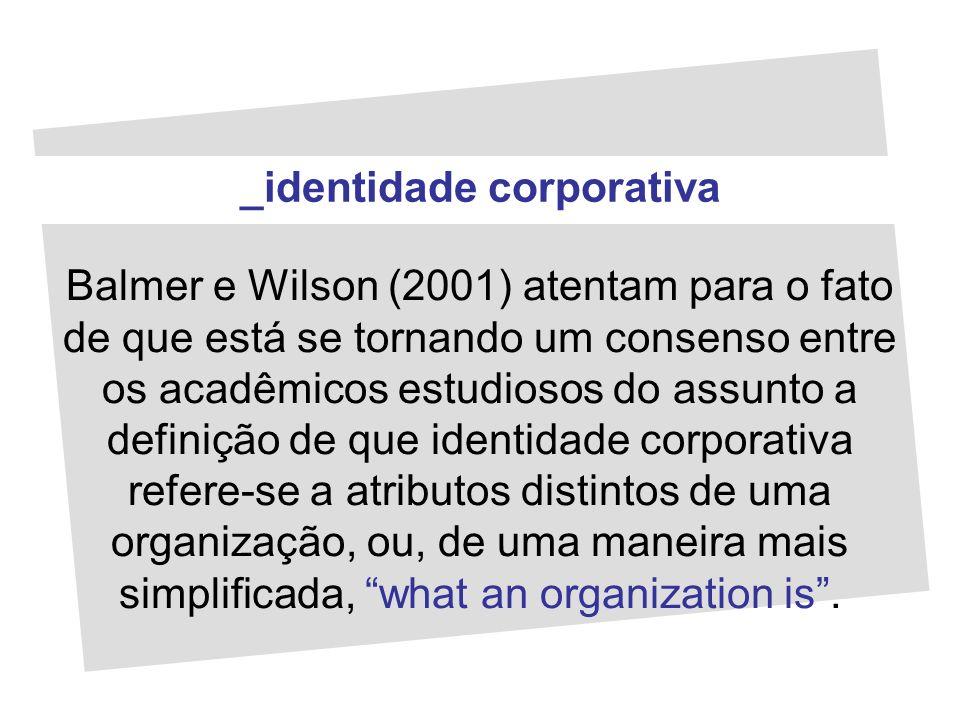Balmer e Wilson (2001) atentam para o fato de que está se tornando um consenso entre os acadêmicos estudiosos do assunto a definição de que identidade