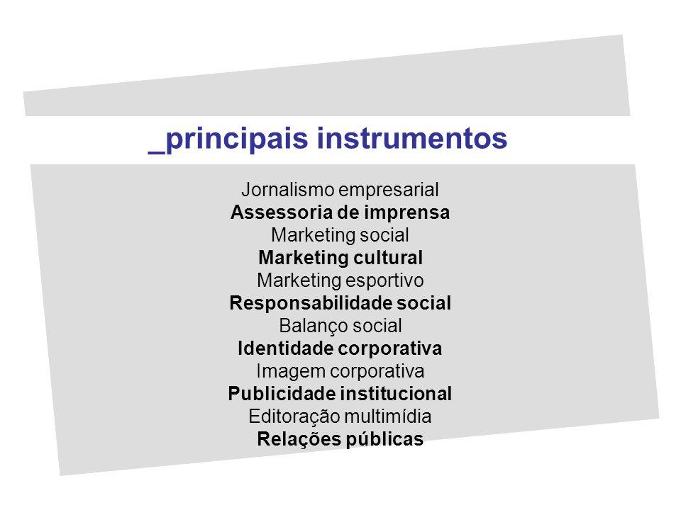 Jornalismo empresarial Assessoria de imprensa Marketing social Marketing cultural Marketing esportivo Responsabilidade social Balanço social Identidad