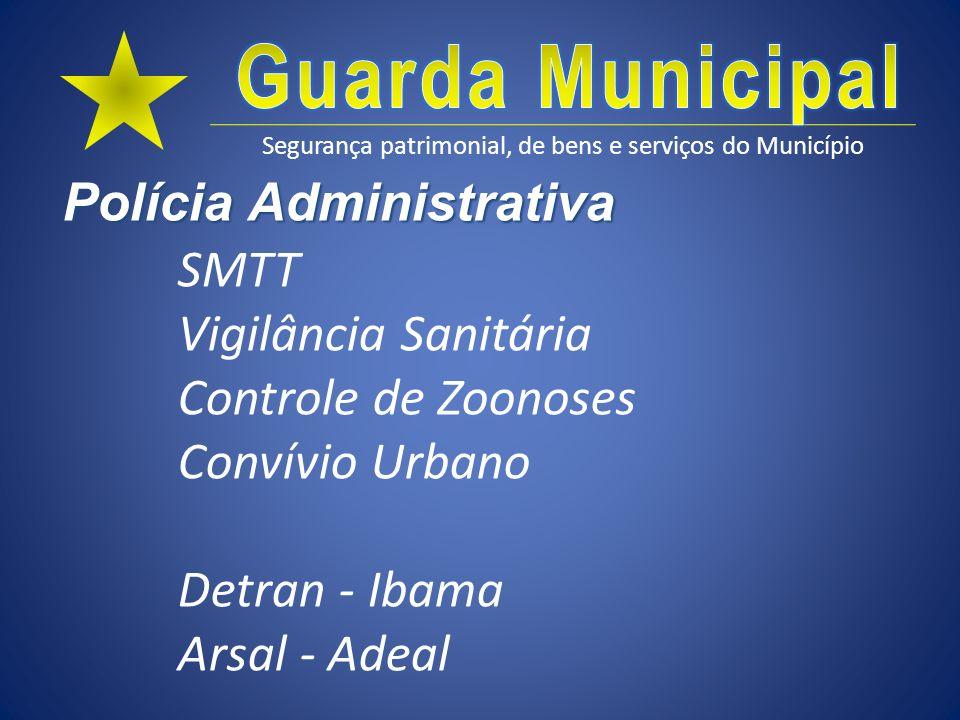 Segurança patrimonial, de bens e serviços do Município Polícia Administrativa SMTT Vigilância Sanitária Controle de Zoonoses Convívio Urbano Detran -