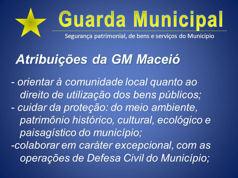 Segurança patrimonial, de bens e serviços do Município Atribuições da GM Maceió - orientar à comunidade local quanto ao direito de utilização dos bens