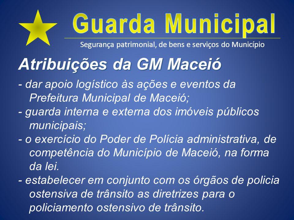 Segurança patrimonial, de bens e serviços do Município Atribuições da GM Maceió - dar apoio logístico às ações e eventos da Prefeitura Municipal de Ma