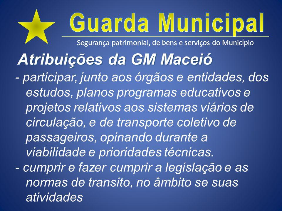 Segurança patrimonial, de bens e serviços do Município Atribuições da GM Maceió - participar, junto aos órgãos e entidades, dos estudos, planos progra