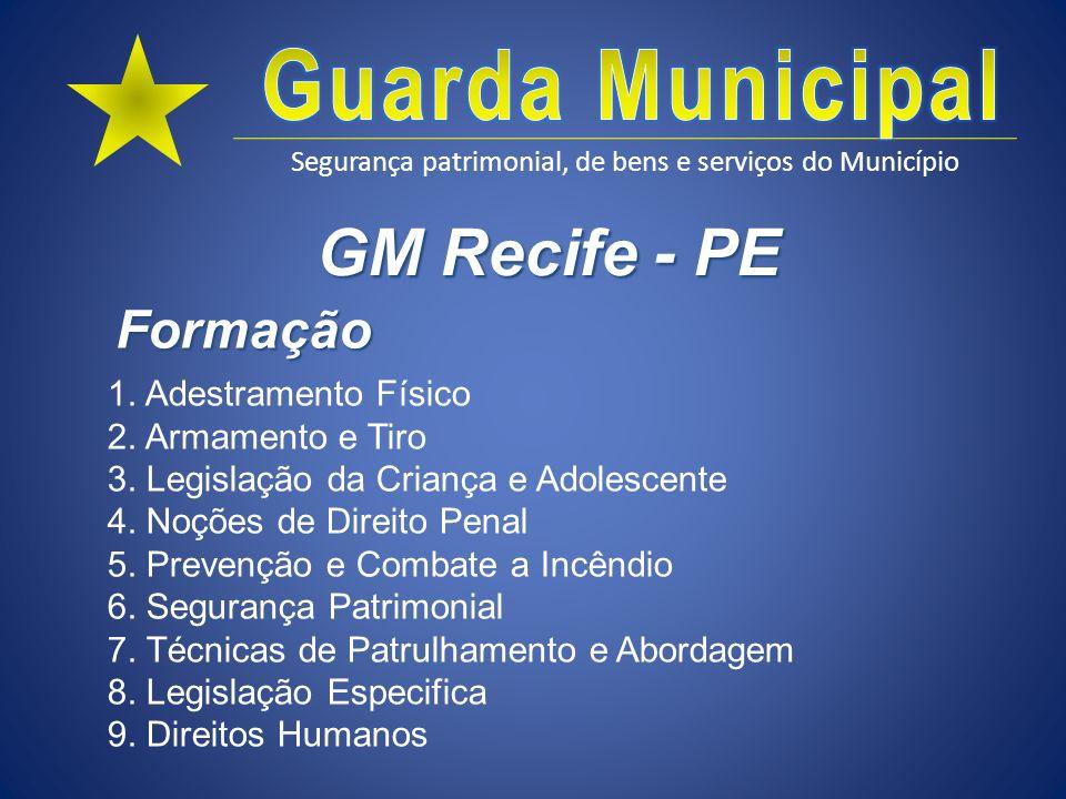 Segurança patrimonial, de bens e serviços do Município GM Recife - PE 1. Adestramento Físico 2. Armamento e Tiro 3. Legislação da Criança e Adolescent