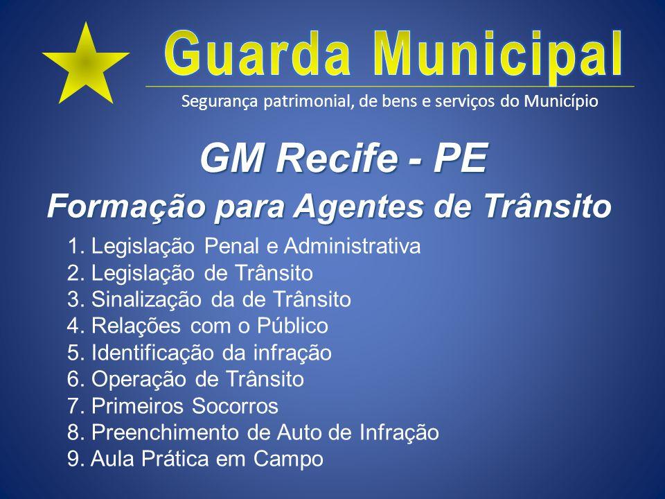 Segurança patrimonial, de bens e serviços do Município GM Recife - PE 1. Legislação Penal e Administrativa 2. Legislação de Trânsito 3. Sinalização da