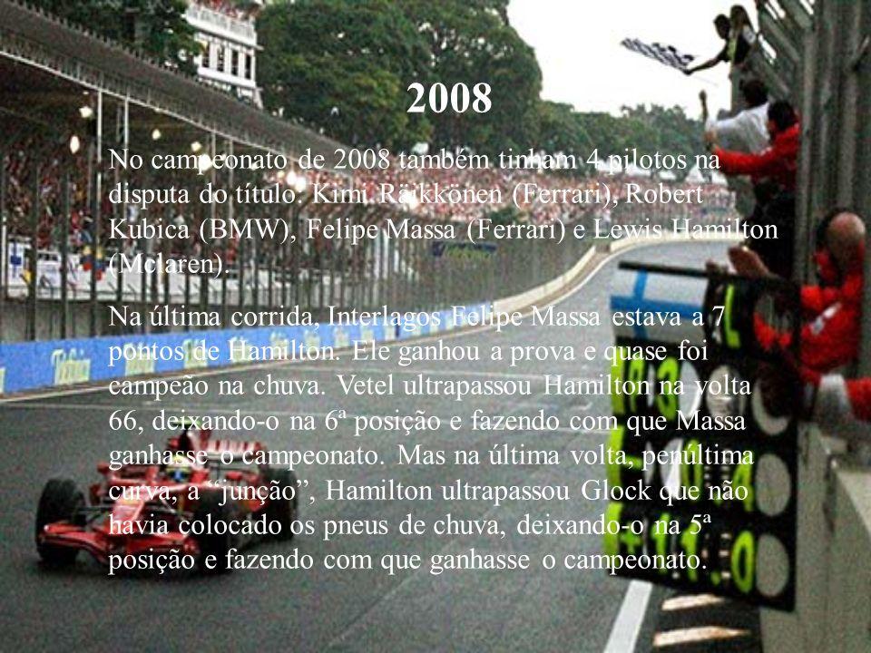 2008 No campeonato de 2008 também tinham 4 pilotos na disputa do título: Kimi Räikkönen (Ferrari), Robert Kubica (BMW), Felipe Massa (Ferrari) e Lewis Hamilton (Mclaren).