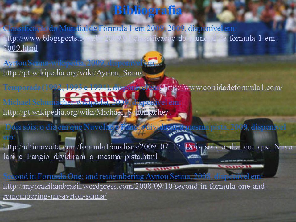 Bibliografia Classificação do Mundial de Fórmula 1 em 2009, 2009, disponível em: http://www.blogsports.com.br/2009/04/classificacao-do-mundial-de-formula-1-em- 2009.html http://www.blogsports.com.br/2009/04/classificacao-do-mundial-de-formula-1-em- 2009.html Ayrton Senna-wikipédia, 2009, disponível em: http://pt.wikipedia.org/wiki/Ayrton_Senna http://pt.wikipedia.org/wiki/Ayrton_Senna Temporada (1992, 1993 e 1994), disponível em: http://www.corridadeformula1.com/http://www.corridadeformula1.com/ Michael Schumacher-wikipédia, 2009, disponível em: http://pt.wikipedia.org/wiki/Michael_Schumacher.
