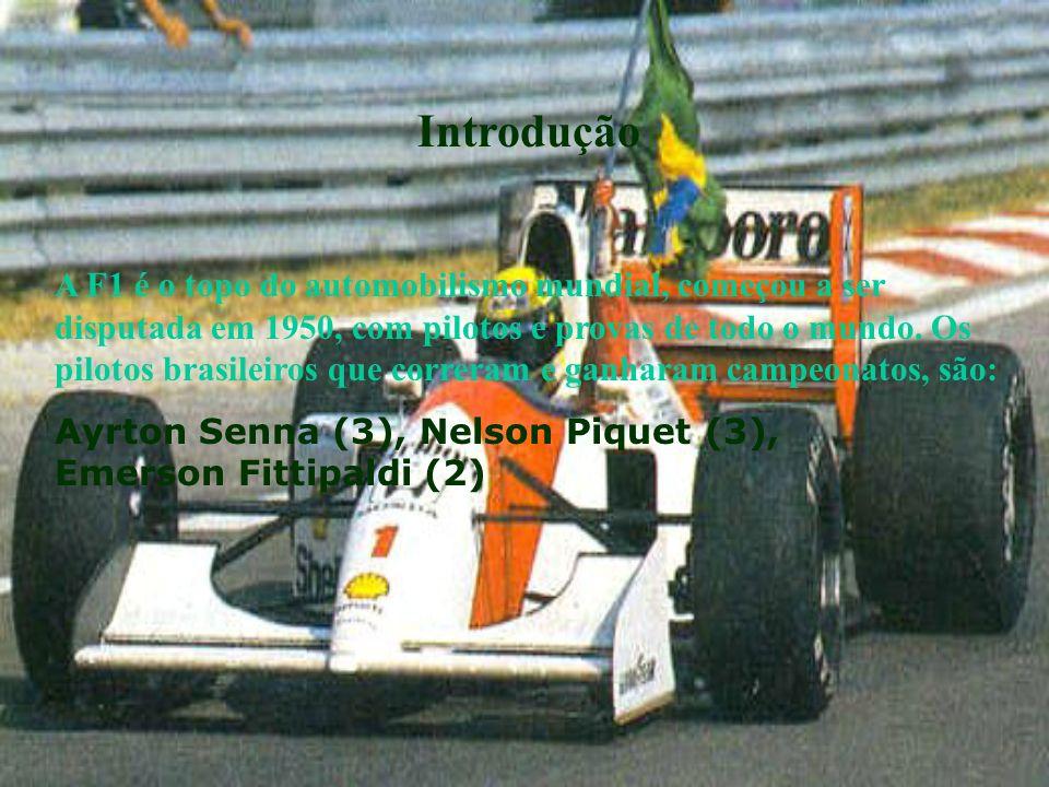 Introdução A F1 é o topo do automobilismo mundial, começou a ser disputada em 1950, com pilotos e provas de todo o mundo.