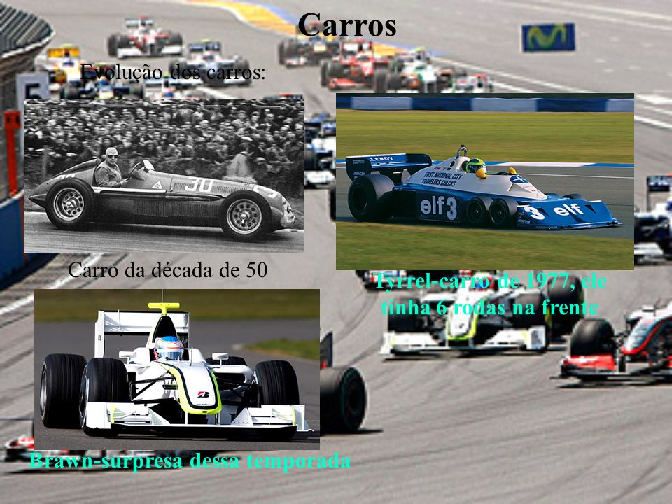Carros Evolução dos carros: Tyrrel-carro de 1977, ele tinha 6 rodas na frente Carro da década de 50 Brawn-surpresa dessa temporada
