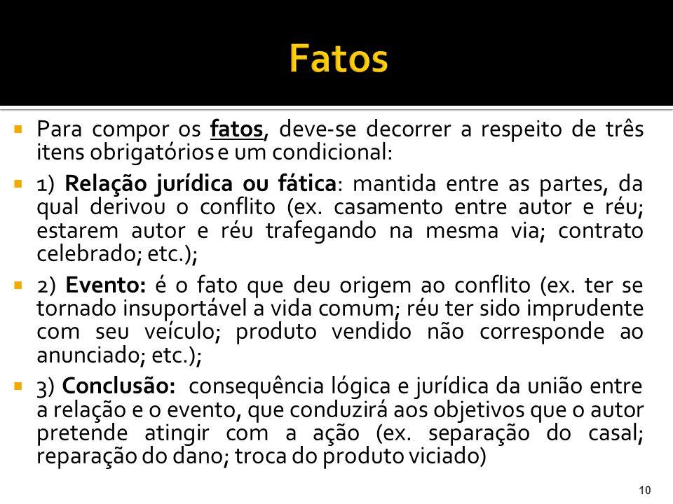 Para compor os fatos, deve-se decorrer a respeito de três itens obrigatórios e um condicional: 1) Relação jurídica ou fática: mantida entre as partes, da qual derivou o conflito (ex.