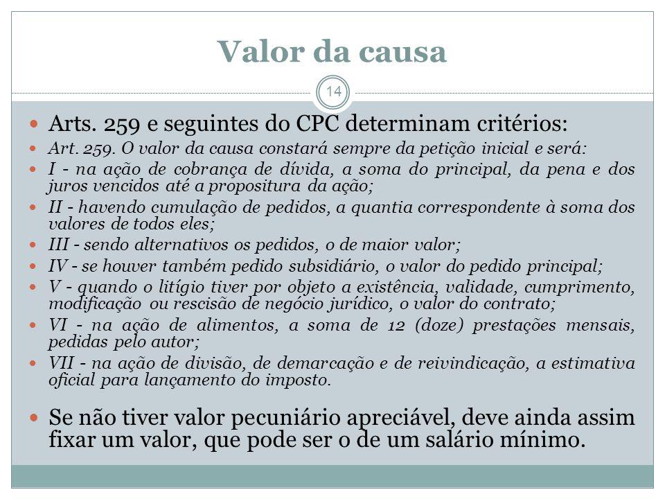 14 Valor da causa Arts.259 e seguintes do CPC determinam critérios: Art.