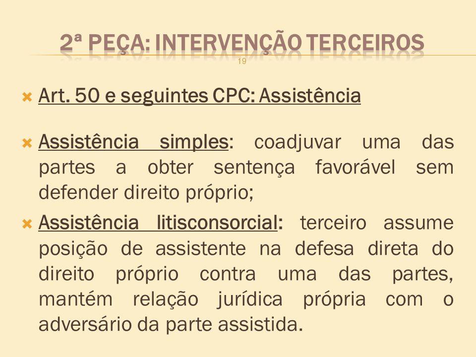 Art. 50 e seguintes CPC: Assistência Assistência simples: coadjuvar uma das partes a obter sentença favorável sem defender direito próprio; Assistênci