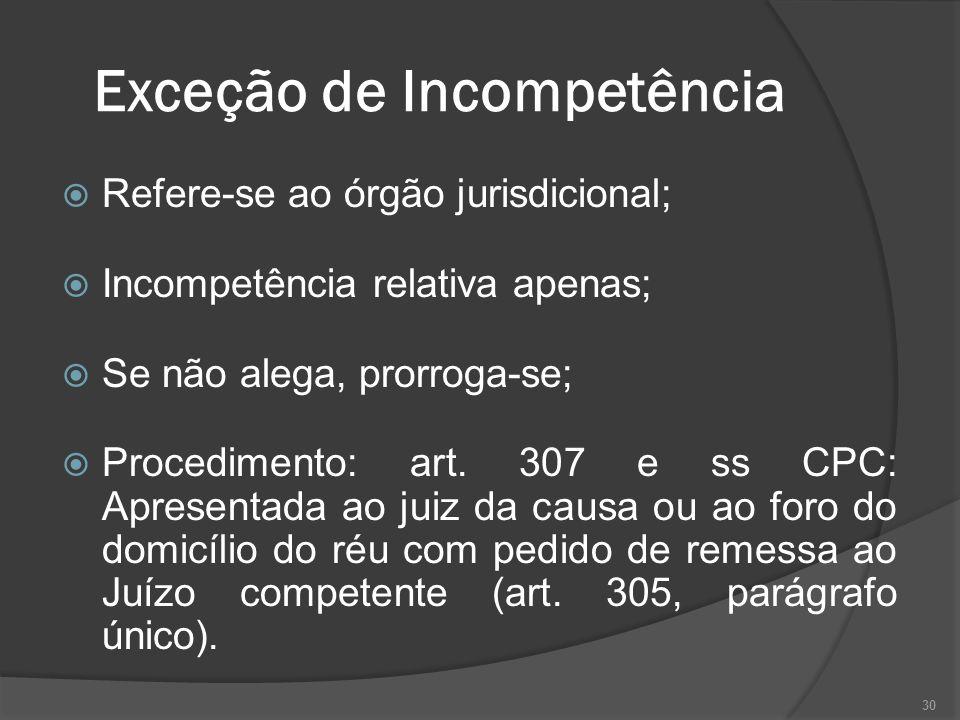 Exceção de Incompetência Refere-se ao órgão jurisdicional; Incompetência relativa apenas; Se não alega, prorroga-se; Procedimento: art.