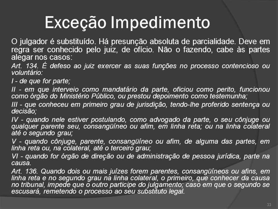 Exceção Impedimento O julgador é substituído.Há presunção absoluta de parcialidade.