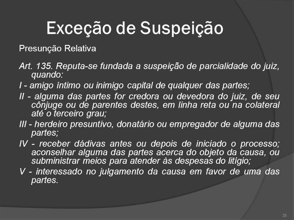 Exceção de Suspeição Presunção Relativa Art.135.