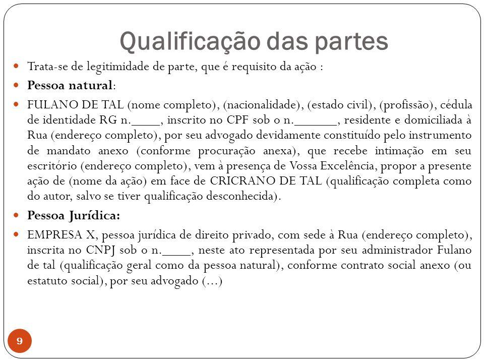 Qualificação das partes 9 Trata-se de legitimidade de parte, que é requisito da ação : Pessoa natural: FULANO DE TAL (nome completo), (nacionalidade), (estado civil), (profissão), cédula de identidade RG n.____, inscrito no CPF sob o n.______, residente e domiciliada à Rua (endereço completo), por seu advogado devidamente constituído pelo instrumento de mandato anexo (conforme procuração anexa), que recebe intimação em seu escritório (endereço completo), vem à presença de Vossa Excelência, propor a presente ação de (nome da ação) em face de CRICRANO DE TAL (qualificação completa como do autor, salvo se tiver qualificação desconhecida).