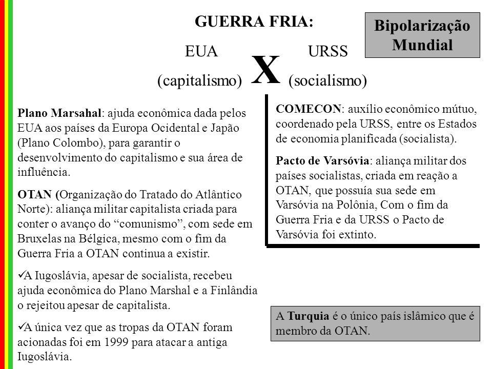 GUERRA FRIA: EUA URSS (capitalismo) (socialismo) X Plano Marsahal: ajuda econômica dada pelos EUA aos países da Europa Ocidental e Japão (Plano Colombo), para garantir o desenvolvimento do capitalismo e sua área de influência.