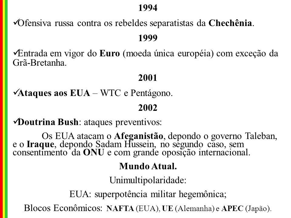 1991 Fim da URSS e criação da CEI (Comunidade dos Estados Independentes), com exceção de Estônia, Letônia e Lituânia (as Repúblicas Bálticas). O neoli
