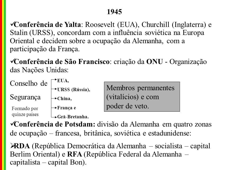 EUA, URSS (Rússia), China, França e Grã-Bretanha.