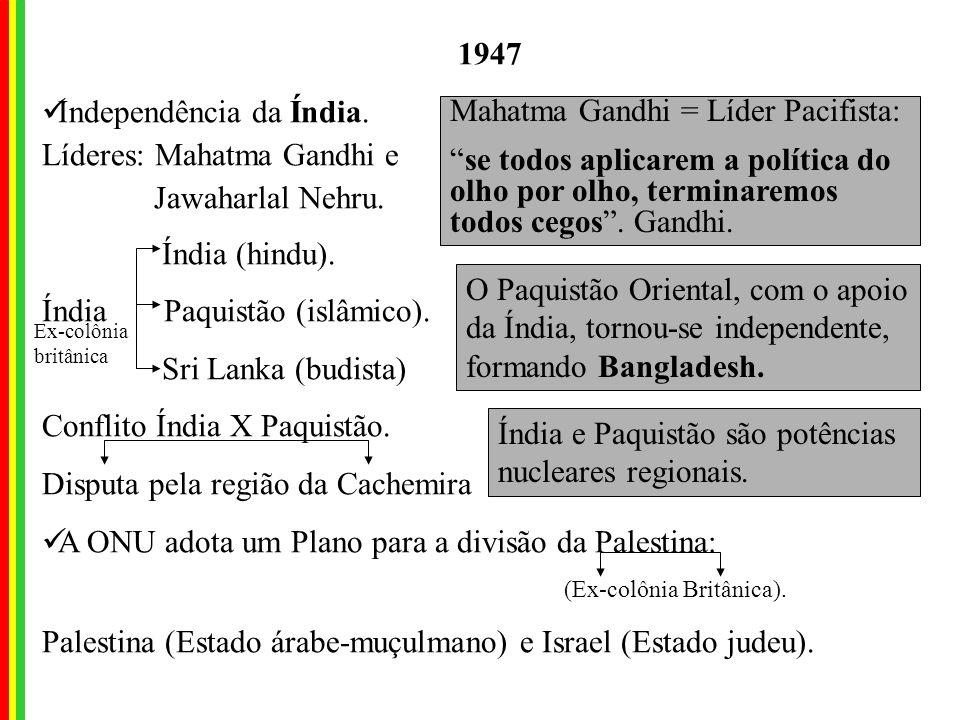 Mahatma Gandhi = Líder Pacifista: se todos aplicarem a política do olho por olho, terminaremos todos cegos.